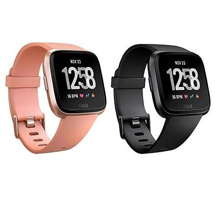 Amazon.com: Fitbit Versa Fitness Watch, Black/Black Aluminum ...