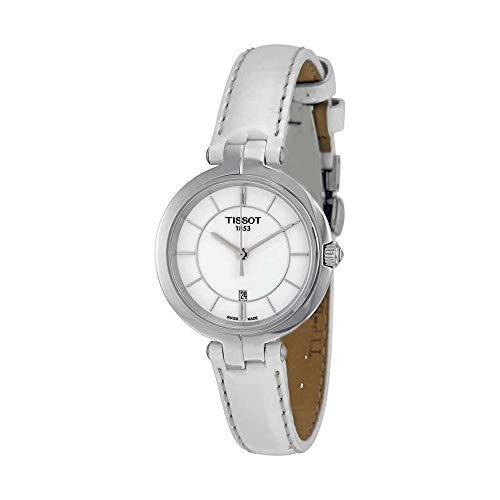 Tissot Flamingo White Dial White Leather Strap Ladies Quartz Watch T0942101601100