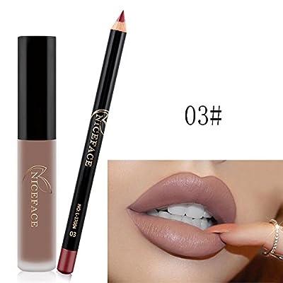 Resistente al agua mate líquido brillo de labios + Lip Liner Lápiz Suave Barra de labios cosméticos de larga duración para las Partes, desfile de moda, la vida cotidiana