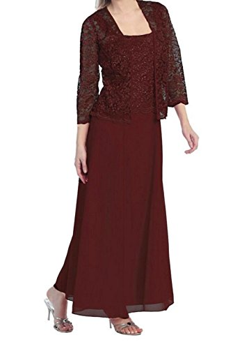 (Womens Long Mother of The Bride Plus Size Formal Lace Dress with Jacket (2X, Burgundy))