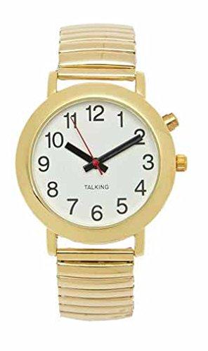 Talking Watch - Calendar 4-Button Gold Case Gold Band White Face - Black (Gold 4 Button Talking Watch)