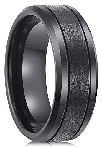 Lanchela & Co. 8mm Black Tungsten Carbide Rings Men Wedding Bands Promise Engagement Brushed Comfort Fit