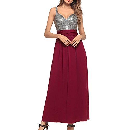 para Sin Valin Cóctel mujer mangas Vestido Rojo wEqqr0I
