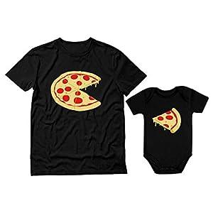 Quafoo Pizza Pie & Slice Dad & Baby Set Body para bebé y Camiseta para Hombre Regalo de Ducha