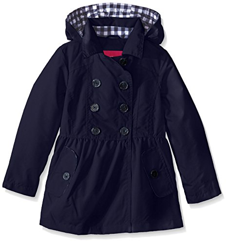 London Fog Big Girls Brushed Poly Trench Coat, Navy, 7/8