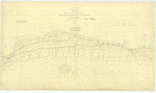 Vintography 24 x 36 Giclee Print Nautical Map Image Santa Barbara Channel Sheet No. 5 1869 NOAA 29a