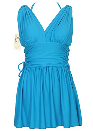 Women's Shaping Body Swimwear Two Piece Swimdress Elegant Skirted Swimsuit(FBA) Acid Green US 16-18/Tag 5XL