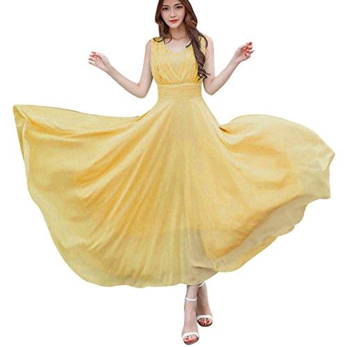 Party Dress,Caopixx Bridal Jewel Neck Bridesmaids Dresses Retro Chiffon Evening Gowns Cocktail Dresses (Asia Size XL=US Size L, Yellow)