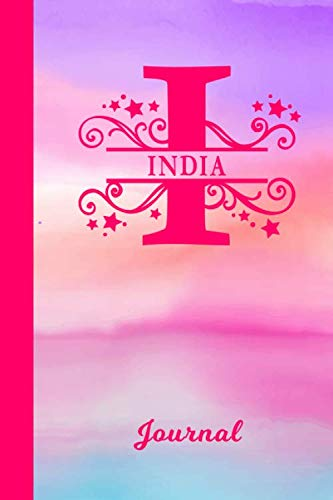 India Journal: Personalized Custom First Name Personal Writing Diary | Cute Pink & Purple Watercolor Effect Cover | Daily Journal for Journalists & ... Write about your Life Experiences & Interests (Best Gift For Mother In Law India)
