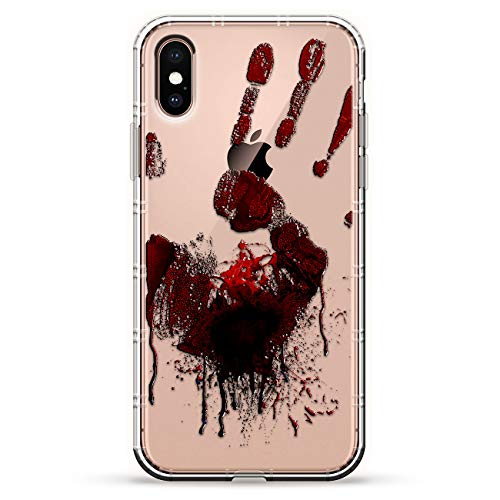 SPOOKY BLOODY HAND PRINT MARK HALLOWEEN | Luxendary Air Series Clear Silicone Case with 3D printed design and Air-Pocket Cushion Bumper for iPhone Xs Max (new 2018/2019 model with 6.5