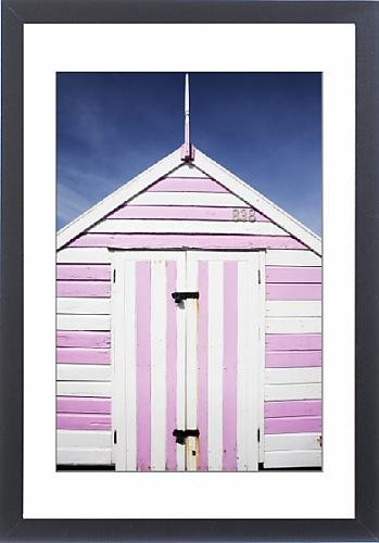 Framed Artwork of Pink and white striped beach hut, Felixstowe, Suffolk, England, United Kingdom,