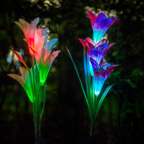 FC-Fancier Solar Lights Outdoor - New Upgraded Solar Garden Lights, Multi-Color Changing Lily Solar Flower Lights for Patio,Yard Decoration(2 Pack, Red and White)
