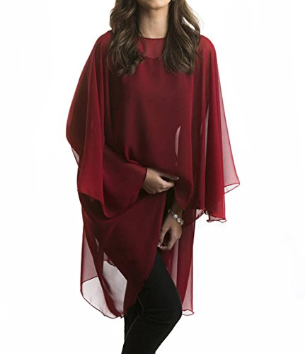 Wedding Capes Womens Soft Chiffon Shrug Bridal Long Shawl and Wraps (Wine Red3) by Baiqiya