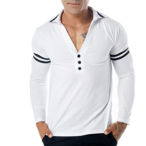 Sunhusing Men's Casual Lapel V-Neck Long Sleeve Cuff Stripe Muscle Top Blouse Poloshirt