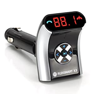 GOgroove FlexSMART X3 Mini Bluetooth FM Transmitter with Hands-free Calling , Audio Playback and USB Charging - Works with Apple iPhone 6s , Samsung Galaxy S6 , HTC One M9 and More Smartphones