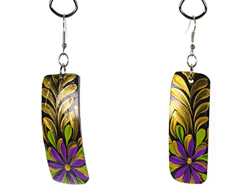 - The Ambient Collection Colorful Dangling Hand Painted Coconut Earrings for Women Handmade Polished Natural and Elegant