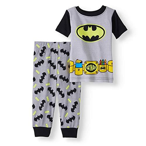 AME Baby Boys Batman Snug Fit Cotton Pajamas, Black Gray, 12 Months -