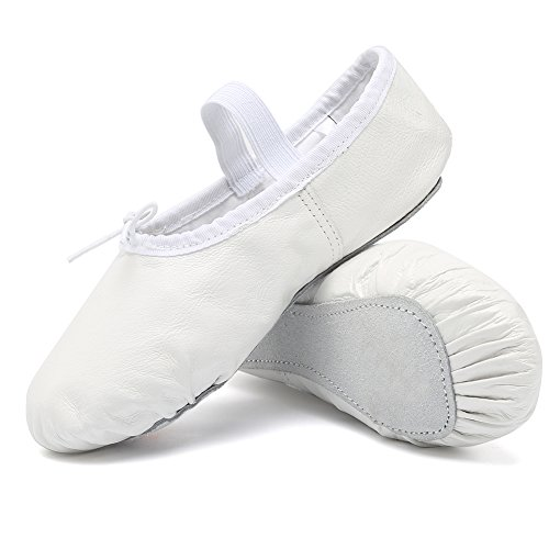 CIOR Leather Ballet Shoes for Girls Classic Dance Gymnastics Yoga Slippers Flats(Toddler/Little Kid/Big Kid/Women),SWX,White,34