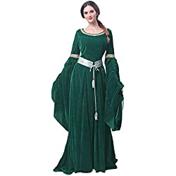 Nuoqi Women's Dark Green Victorian Dress Renaissance Costumes