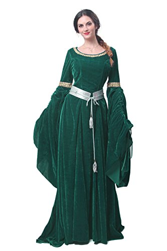 Plus Size Medieval Dress (Nuoqi Women's Dark Green Victorian Dress Renaissance Costumes)