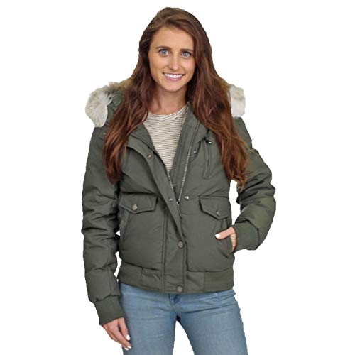 Pajar Women's Margaret Duck Down Fur Trim Hooded Bomber Jacket Green Size ()