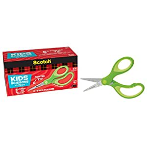 Scotch 5-Inch Soft Touch Pointed Kid Scissors, 12 Count Teacher Pack, Green (1442P-12)