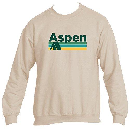 Aspen Sweater (Tenn Street Goods Aspen Retro Camping - Colorado Men's Crewneck Sweatshirt (Large, Sand))