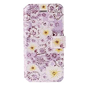 Purple Small Fresh Florals Series Painting Leather Case with Holder & Card Slots for iPhone 5/5S
