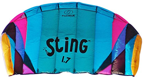 Flexifoil 1.7m2/2.2m Wide Sting 4-line Power Kite with 90 Day! By World Record Power Kite Designer - Safe, Reliable and Durable Power Kiting, Kite Training and Traction Kiting. by Flexifoil