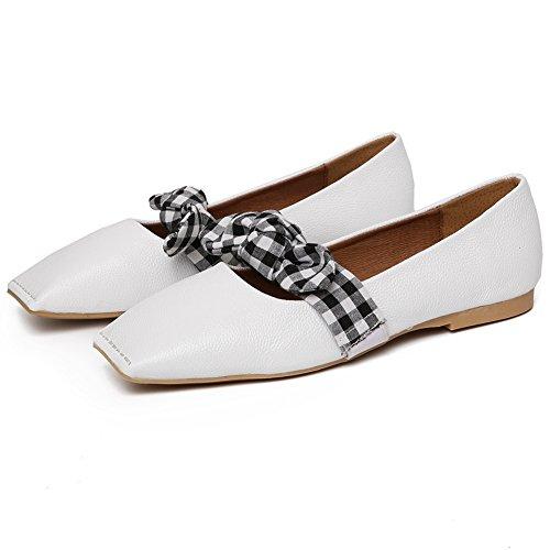 Cyber classique Bowknot Slip Sur Mocassins Mocassins Orteil Plat Conduite Chaussures Casual Blanc