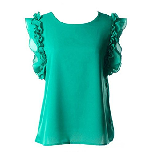 Vobaga Mujeres Verano Colmena de la manga Corta Camiseta Tapas Ocasionales Blusa T-shirt Verde