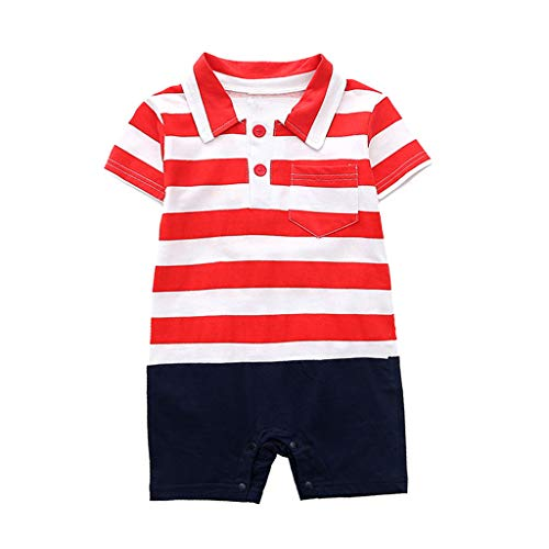 Sunhusing Toddler Baby Short Sleeve Striped Navy Button-Down Lapel Pocket Romper Jumpsuit Coverall -