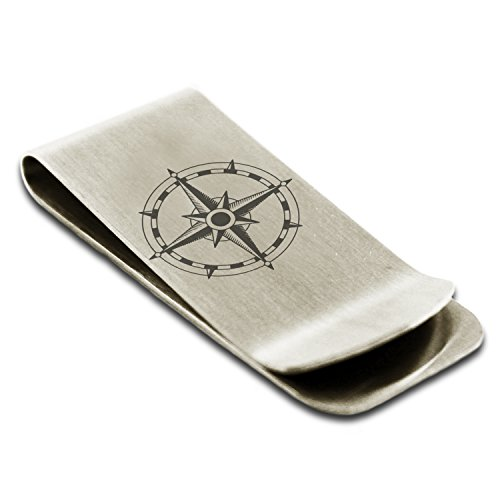 Dial Silver Sun (Stainless Steel Sun Dial Compass Symbol Engraved Money Clip Credit Card Holder)
