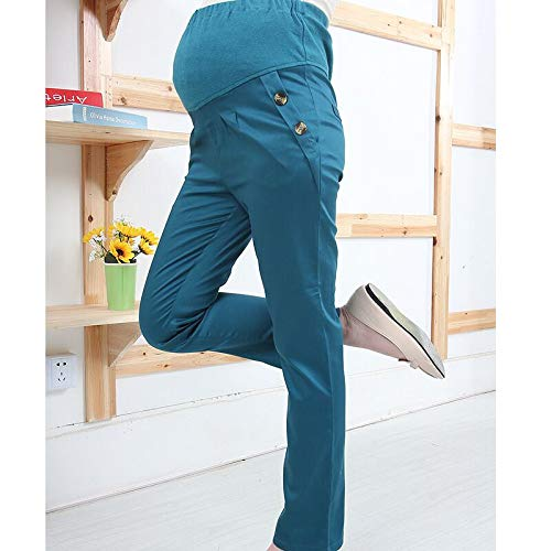 Maternity Trousers for Work Pregnancy Pants Over Bump with Pockets Casual Cotton Leggings Extenders Waist Band Belly Support