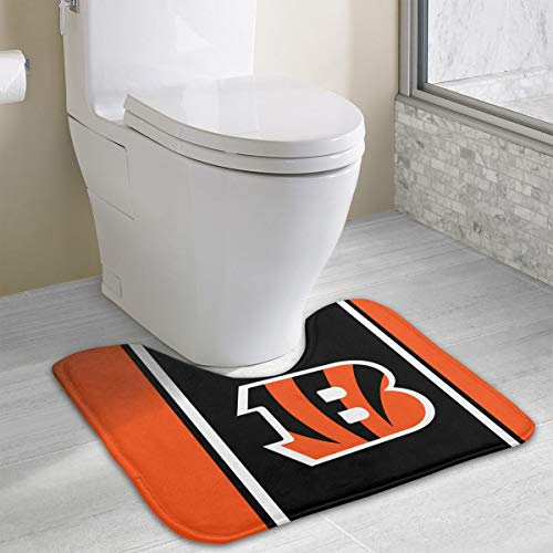 Marrytiny Custom Colourful Non Slip U-Shaped Toilet Bath Rug Cincinnati Bengals Football Team Anti-Bacterial Floor Contour Doormat Shower Mat Bathroom Carpet 19.3 x 15.7 - Cincinnati Bengals Rubber