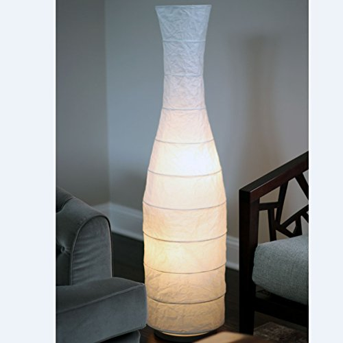 Rice Paper Floor Lamp , with White Shade Lantern , Gives Soft Mood Light , Oriental Decorative Accent Lighting (Buyer gets 1)