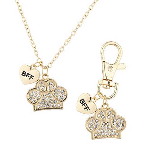Lux Accessories Gold Tone Crystal Pave BFF Dog Paw Collar Owner Necklace & Keychain Set
