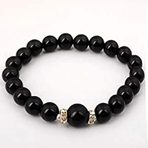 Natural Stone Bracelet Black Onyx Gem Stone Round Beads-ST1232