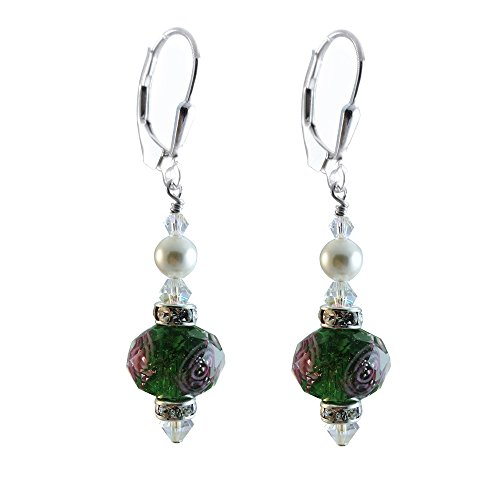 Green Lamp-work Glass Earrings Made with Swarovski Crystal Elements. Sterling Silver (Lampwork Crystal Sterling Earrings)