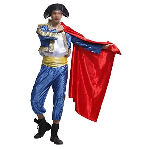Adult Dress Spanish Bullfighter Dance Costumes Matador Costume Male Masquerade Performance Costume Blue,red]()