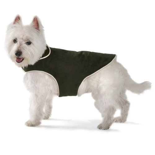 Dog Gone Smart Jacket with Ecru Piping for Dogs, 28-Inch, Olive