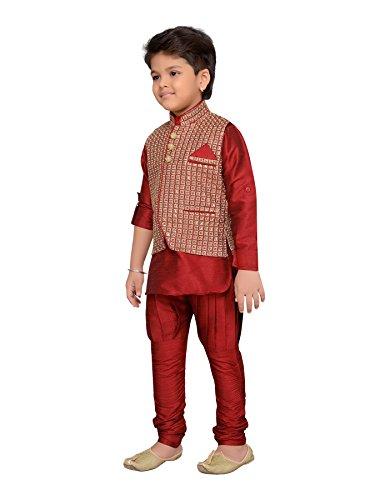 AJ Dezines Kids Indian Wear Bollywood Style Kurta Pyjama Waistcoat for Boys (617-MAROON-7) by AJ Dezines (Image #1)