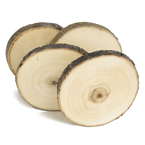 Coaster Natural - Natural Wood Coaster Set 4 pcs with Tree Bark Wooden Coasters Each Measures About 3.5 inches in Diameter