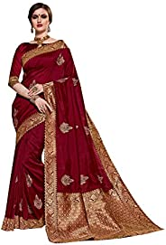 PinkCityCreations Designer Sarees for Indian Womens Traditional Maroon Partywear Exclusive Poly Silk Sari with