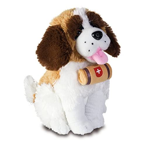 Peluche chien Saint Bernard tonneau - 20 cm