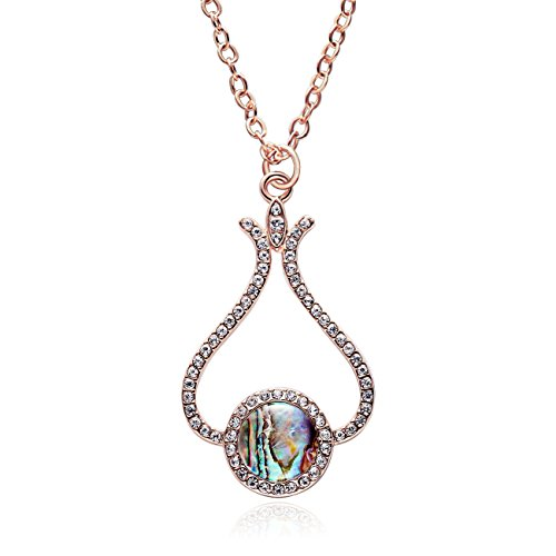 RUXIANG Crystal Flower Bud Disc Abalone Shell Pendant Necklace Jewelry (Rose Gold) ()