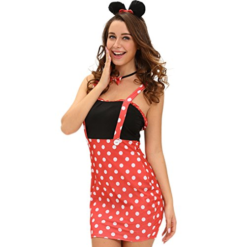 Mickey Mouse Woman Costumes (Eternatastic Women's Mouse Adult Costume Halloween Costume Miss Minnie Mouse Costume L)