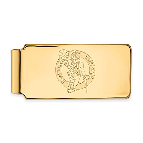 NBA Boston Celtics Money Clip in 18k Yellow Gold Flashed Silver by LogoArt
