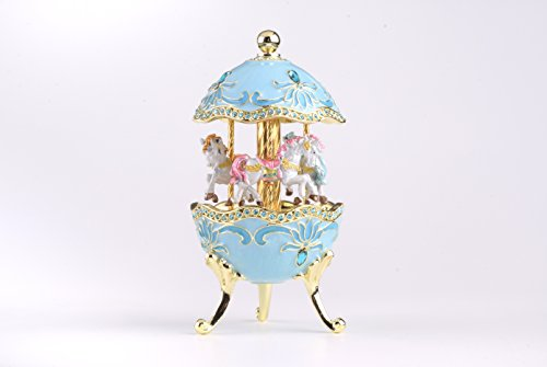 Keren Kopal Teal Wind up Musical Carousel with Royal White Horses Music Box Faberge Style for ()