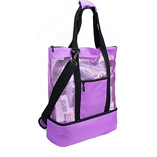 bestheart Women's Picnic Bag,Mesh Refrigerator Compartment Bag , Oversized Zipper Closed Beach Tote Bag Large Capacity Picnic Bag (Purple)